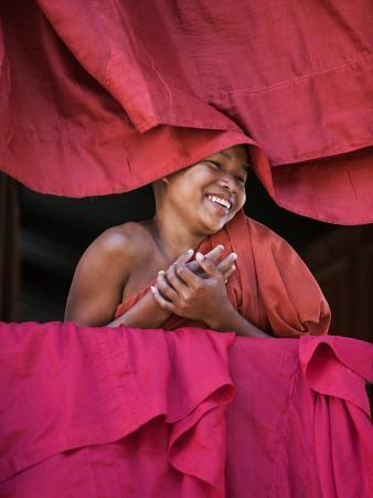 Burma, Rakhine State, Sittwe, Young Novice Monk at Pathain Monastery Where 210 Monks Live, Myanmar