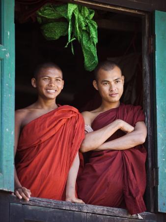 Novice Monk with Food Bowl and Utensils at Pathain Monastery, Sittwe, Burma, Myanmar