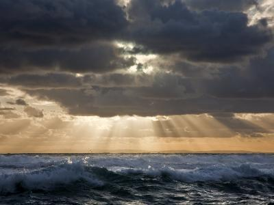 Late Afternoon, the Sun Breaks Through Threatening Clouds over Bass Straits, Victoria, Australia