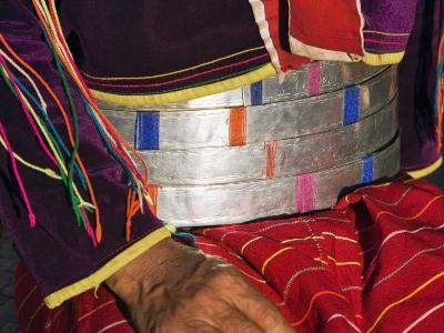 Palaung Women of Tibetan-Myanmar Group of Tribes Display their Wealth by Wearing Broad Silver Belts