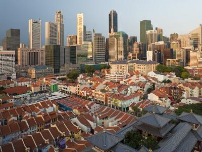 Elevated View over Chinatown, the New Buddha Tooth Relic Temple and Modern City Skyline, Singapore
