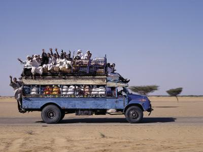 Crowded Bedford Bus Travels Along Main Road from Khartoum to Shendi, Old Market Town on Nile River