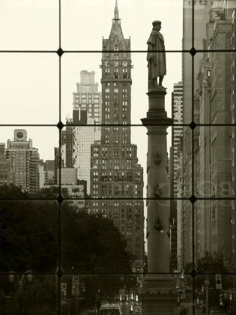 New York City, Manhattan, Statue of Christopher Columbus in Columbus Circle Viewed Through a Glass