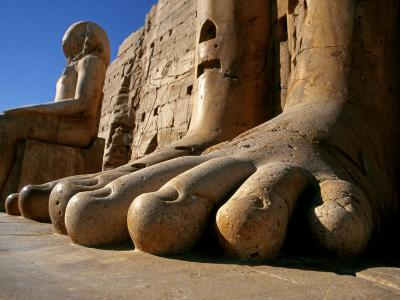 Luxor, Massive Feet on a Statue in the Temple of Karnak, Egypt
