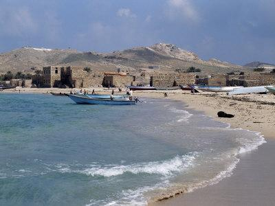 Waterfront at Qalansiah, an Important Fishing Village in the Northwest of Socotra Island