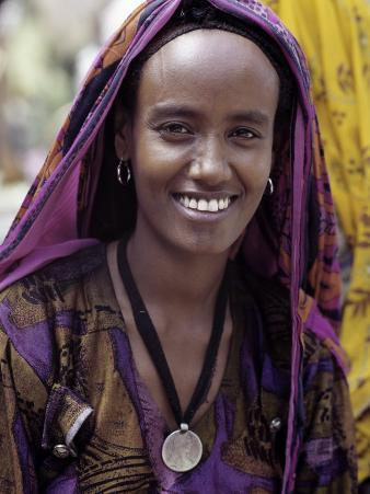 Woman Wearing Maria Theresa Thaler, an Old Silver Coin, at Senbete, Weekly Market, Ethiopia