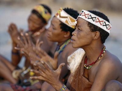 Kung Women Sing and Clap their Hands, They are San Hunter-Gatherers, Often Referred to as Bushmen