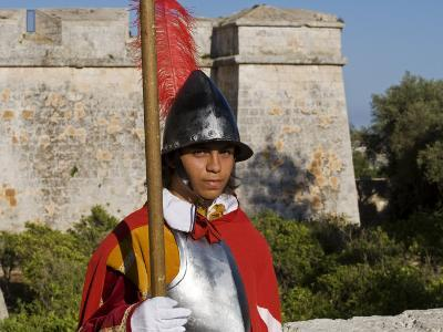 Mdina, Guard in Historic Costume of Templar Knight Stands Outside Medieval Walled City, Malta