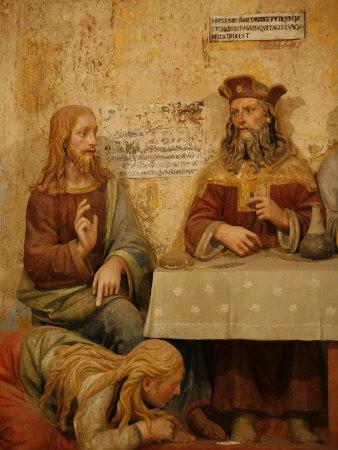 Jesus, Simon the Pharisee and the Sinner, San Vivaldo, Tuscany, Italy, Europe