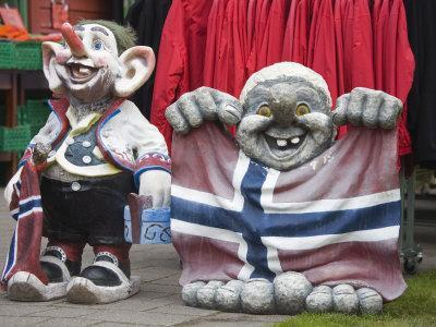 Trolls Outside Store in Flam Village, Sognefjorden, Western Fjords, Norway, Scandinavia, Europe