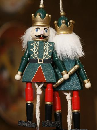 Close-Up of Painted Wooden Figures at Shop in the Christmas Market in Munich Winter Garden