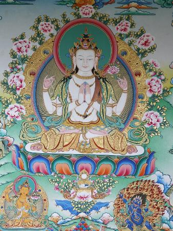 Painting of Avalokitesvara, the Buddha of Compassion, Kathmandu, Nepal, Asia