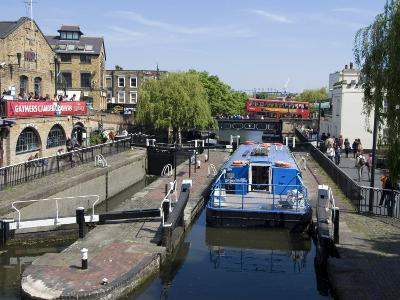 Boat Going Through Camden Lock, London, England, United Kingdom, Europe