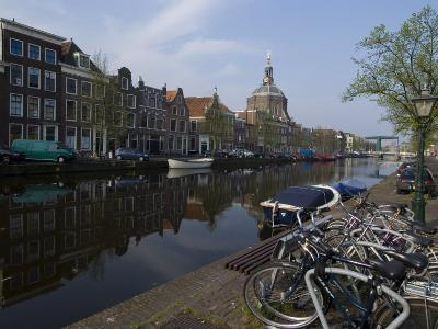 Canal View Looking Towards Mare Church, Leiden, Netherlands, Europe