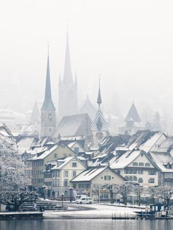 The Town of Zug on a Misty Winter Day, Zug, Switzerland, Europe