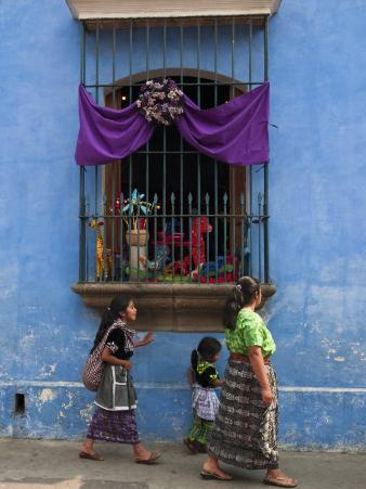 Window Adorned for Holy Week Procession, Antigua, Guatemala, Central America