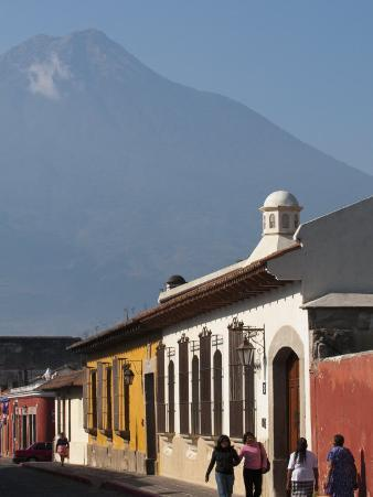 Colonial Buildings and Volcan De Agua, Antigua, Guatemala, Central America