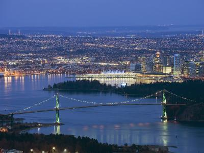 Night View of City Skyline and Lions Gate Bridge, from Cypress Provincial Park, Vancouver