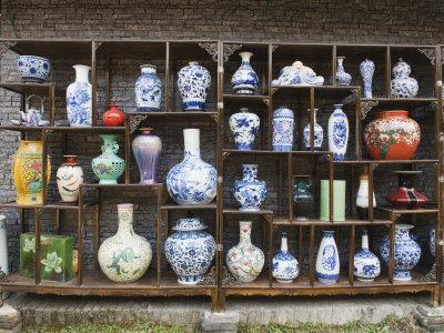 Display of Vases at the Qing and Ming Ancient Pottery Factory, Jingdezhen City, Jiangxi Province