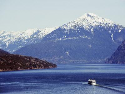 Ferry in Howe Sound, Scenery on the Sea to Sky Highway, Near Vancouver, British Columbia, Canada
