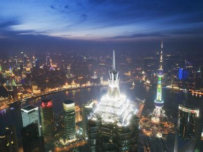 Jinmao and Pearl Towers and Pudong Skyline, Shanghai, China, Asia