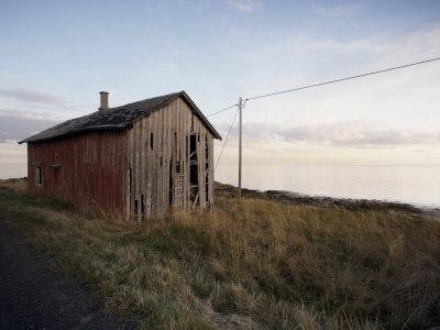 Weathered Barn on Coast, Lofoten Islands, Norway, Scandinavia, Europe