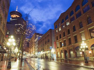 Water Street at Night, Gastown, Vancouver, British Columbia, Canada, North America