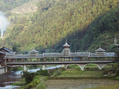 Wind and Rain Bridge at Diping, Guizhou Province, China, Asia