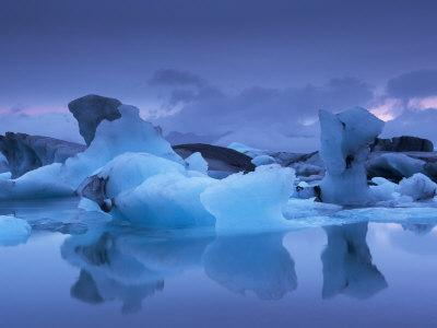 Icebergs in Jokulsarlon Glacial Lagoon, at Dusk, East Iceland, Iceland, Polar Regions