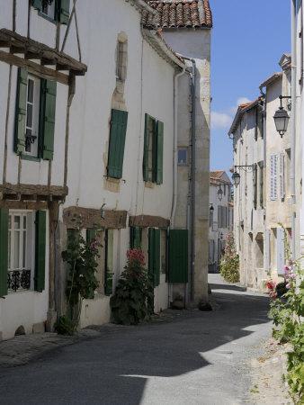 Street Lined with Hollyhocks, St. Martin-De-Re, Ile De Re Charente-Maritime, France, Europe