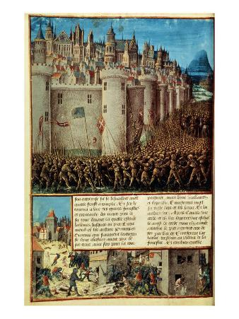 Capture and Sack of Antioch in 1098, First Crusade, French manuscript 15th century