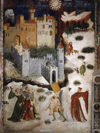 January or Aquarius with Courtiers in Snowball Fight Outside Stenico Castle, c.1400