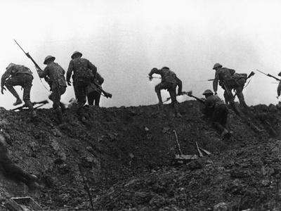 Going Over the Top, Soldiers Climbing over Trench on First Day of Battle of Somme, July 1, 1916