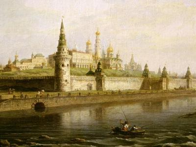 View of the Kremlin in Moscow, Russia, from the Kameny (Stone) Bridge, 1818