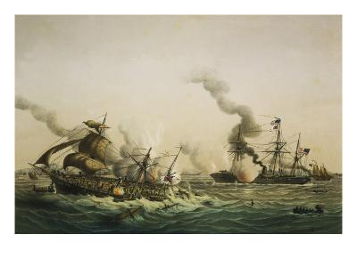 Naval Engagement Between the U.S.S. Kearsarge and the Confederate sea raider Alabama