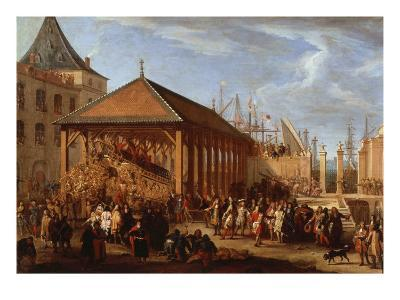 Marquis of Seignelay and Duke of Vivonne Visiting the Royal Galley, Marseilles, France, 1679
