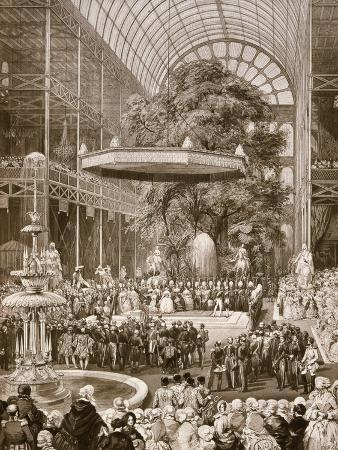 Inauguration in 1851 of Great Exhibition by Victoria, Queen of England, Crystal Palace, London