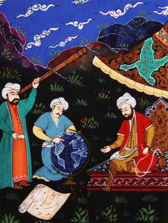 Astronomers and Geographers in a Mountainous Country, Ottoman Miniature, 17th century