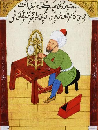 Scholar Studying the Workings of a Clock, Ottoman Manuscript, 17th century
