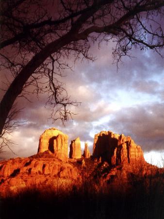 Sunset Sky over Cathedral Rock, Sedona, Arizona, USA