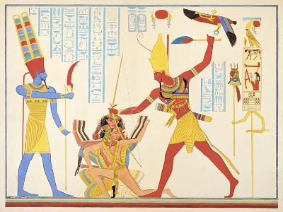 God Amun Offers Sickle Weapon to Pharaoh Ramesses III as he Strikes Two Captured Enemies