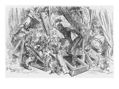 Don Quixote Fighting the Puppets, Illustration from 'Don Quixote de la Mancha' by Miguel Cervantes
