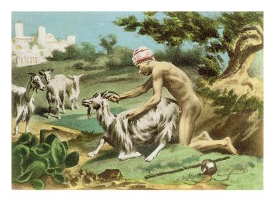 Ancient Greek Sodomising a Goat, plate XVII from 'De Figuris Veneris' by F.K. Forberg, pub. 1900
