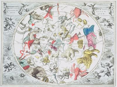 Celestial Planisphere Showing Zodiac Signs, from 'The Celestial Atlas, or The Harmony of Universe'