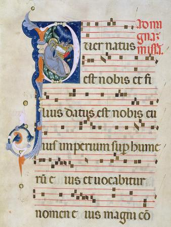Page with Historiated Initial 'P' Depicting the Nativity, from a Gradual from the Monastery of San