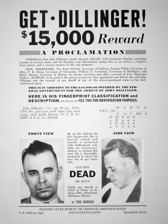Reward Poster for John Dillinger, 1933