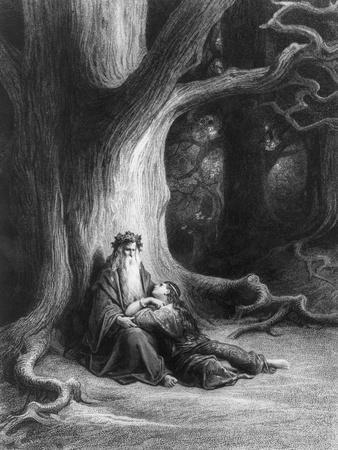 Enchanter Merlin and the Fairy in Forest of Broceliande, from 'Vivien', Poem by Alfred Tennyson