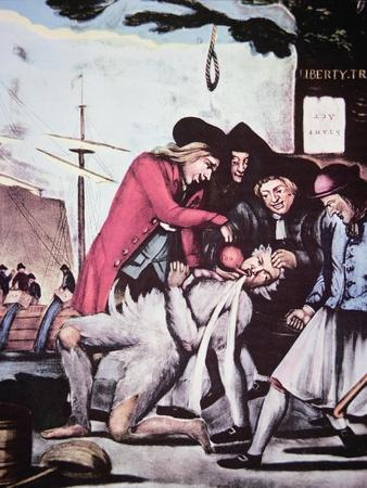 Boston Patriots Forcing British Tea into a Tax Collector, Who Has Been Tarred and Feathered, 1773