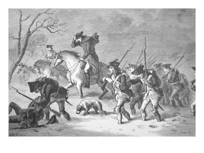 The Ragged and Defeated Continental Army Marching to Encampment at Valley Forge, Winter of 1777-78