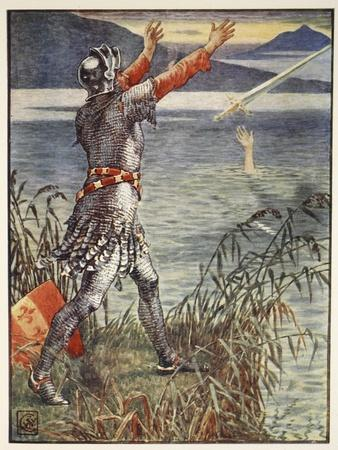Sir Bedivere casts sword Excalibur into the Lake, from 'Stories of Knights of Round Table'